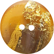 Unusual Bakelite Button with Gold and Silver Metallic