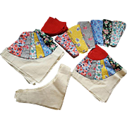 1920s - 1930s Cotton Quilt Pieces Partially Finished Blocks