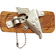 1950s - 1960s Miniature Toy Gun Metal Holster Leather Belt Slide