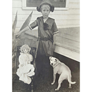 Photograph Girl with Doll and Dog RPPC 1910 Post Card