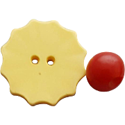 Wonderful Vintage Bakelite Buttons Butter Yellow and Red