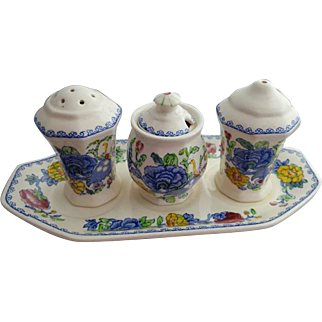 Transferware Mason's Regency Plantation Colonial Condiment Set 5 Pieces