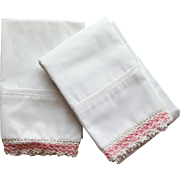 Vintage Crisp White Pillowcases with Hand Crochet Lace Trim Unused