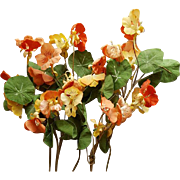 Five Fabric Nasturtium Stems of Fabric Flowers and Velvet Millinery