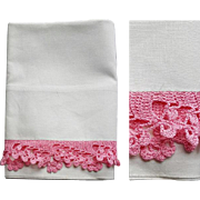 White Cotton Tube Pillowcase Pink Lace Crochet Edge Mint