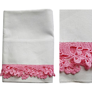 White Cotton Tube Pillowcase Pink Lace Crochet Edge Mint