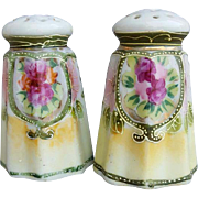Antique Nippon Salt Pepper Shaker Set Hand Painted Flowers