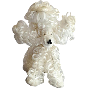 Vintage White Chenille Poodle Dog Googly Eyes 1950s Pipe Cleaner Figure