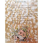 1920s - 1930s Framed Motto MOTHER for Mother's Day Gift