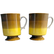 Pair Holt Howard Pedestal Coffee Cups Mugs 1966