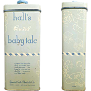 1940s Hall's Baby Talc Tin Pharmacy or Vintage General Drugstore