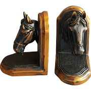 1940s Bronze Horse Head Bookends Detailed Heavy