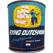 Large Vintage Flying Dutchman Tobacco Can Tin Paper Label 7 Oz