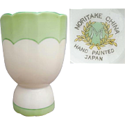 1930s Noritake Hand Painted Egg Cup Depression Era Green