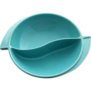1960s Turquoise Serving Bowl Boonton Mid Century Design