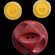 Bakelite Buttons 2 Apple Juice 1 Burgundy Vintage Sewing Notions