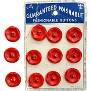 12 Matching Red Buttons Vintage 1930s - 1940s Sewing Notions