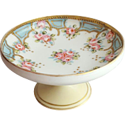 Exquisite pre 1920s Porcelain Compote Hand Painted Pink Roses Gold Moriage