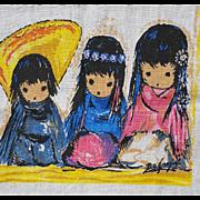 Vintage Ted DeGrazia Linen Towel Darling Children Arizona Artist