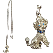 1960s Necklace Spaghetti Poodle Dog with Rhinestone Collar
