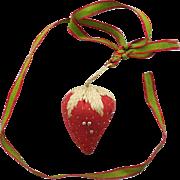 Pin Cushion 1860-1880 with Silk Ribbon Miniature Strawberry  Needle Emery