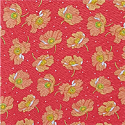 Coral Cotton Sewing Fabric Poppy Print on Pique Vintage