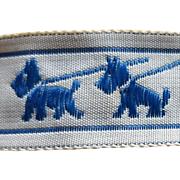 Vintage Sewing Trim Blue Scottish Terrier Ribbon Mint Full Bolt