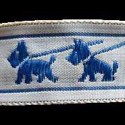 Vintage Sewing Trim Blue Scottish Terrier Ribbon Mint 4 Full yards