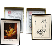 Two Boxes of Vintage Bookplates Two Styles Asian and Fragonard Portrait