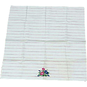 Vintage Cotton Tea Towel Red Stripes on White Morning Glories Mint