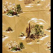 Vintage Cotton Barkcloth Sewing Fabric Asian Motif 1950s Mint