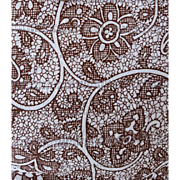 Vintage Cotton Sewing Fabric Brown Lace Print on White 2+ yards