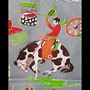 Vintage Novelty Cotton Western Cowboy Print Fabric Quadriga Cloth
