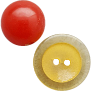 Two Vintage Bakelite Buttons Round Red Ball and Apple Juice