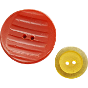 Two Vintage Bakelite Buttons Carved Red and Apple Juice