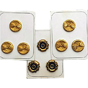 New / Old Sewing Buttons Mint on Original Cards Gold Tone