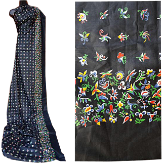 1950s Sewing Fabric Border Print Dramatic Black 2-7/8 yards Mint