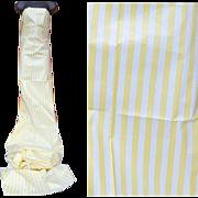 1950s Cotton Sewing Fabric Everglaze Finish 3 yards Yellow White Stripes