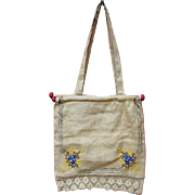 Vintage Embroidered Knitting or Crochet Bag with Lace