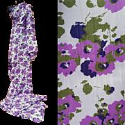 Vintage Sewing Fabric Purple Flowers on Lavender 6 + yards