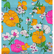 1960s Cotton Flower Sewing Fabric Blue Bold Flowers 3 yards