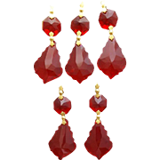 Lot of 5 French Cut Red Chandelier Glass Dangles for Lamps