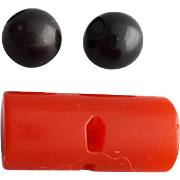 Red Bakelite Rod Button and Two Black Bakelite Spheres