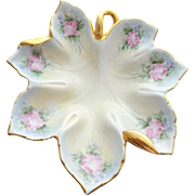 Porcelain Trinket Dish Hand Painted Pink Roses With Gilt