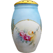 Antique Porcelain Sugar Shaker or Muffineer has Pink and Yellow Roses with Gilt
