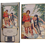 Woman and Man Fishing Print by Ray C. Strang Meridian Idaho Advertising Calendar 1934