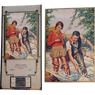 Idaho Advertising Calendar 1934 Woman and Man Fishing Print The Call of Romance by Ray C. Strang