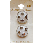 Vintage White Glass Italian Buttons With Silver Playing Card Suits