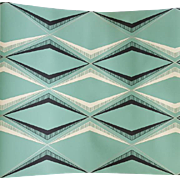 1920s Art Deco Wallpaper Green White Black Silver Diamond Print
