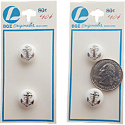 Two Vintage White Glass Buttons with Silver Anchors Mint on Card